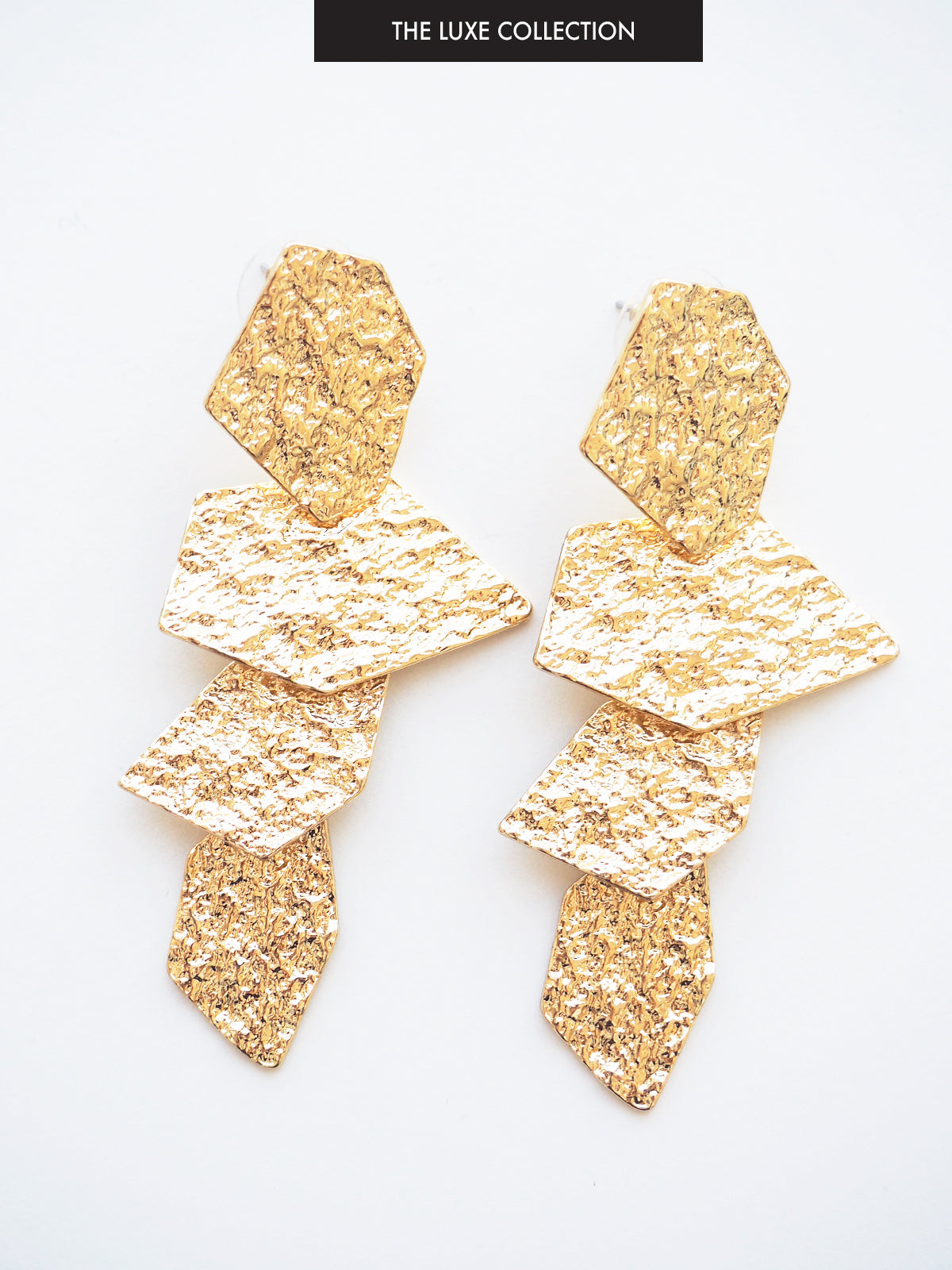 CASCADES OF LOVE GOLD STATEMENT EARRINGS