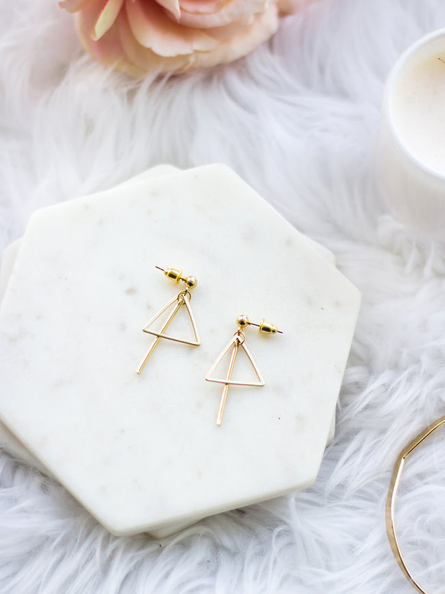 INTO THE FIRE GOLD TRIANGLE BAR EARRINGS