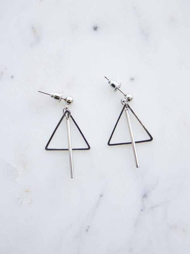 INTO THE FIRE SILVER TRIANGLE BAR EARRINGS