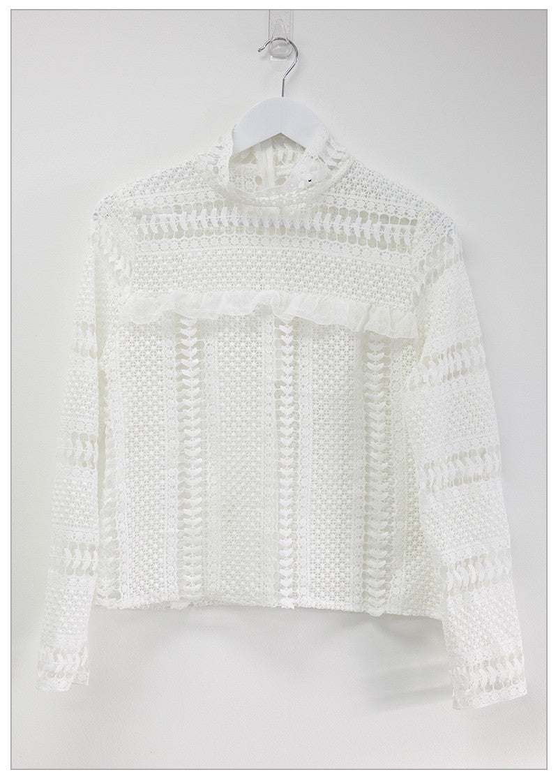 FORMATION HIGH NECK LACE TOP - WHITE