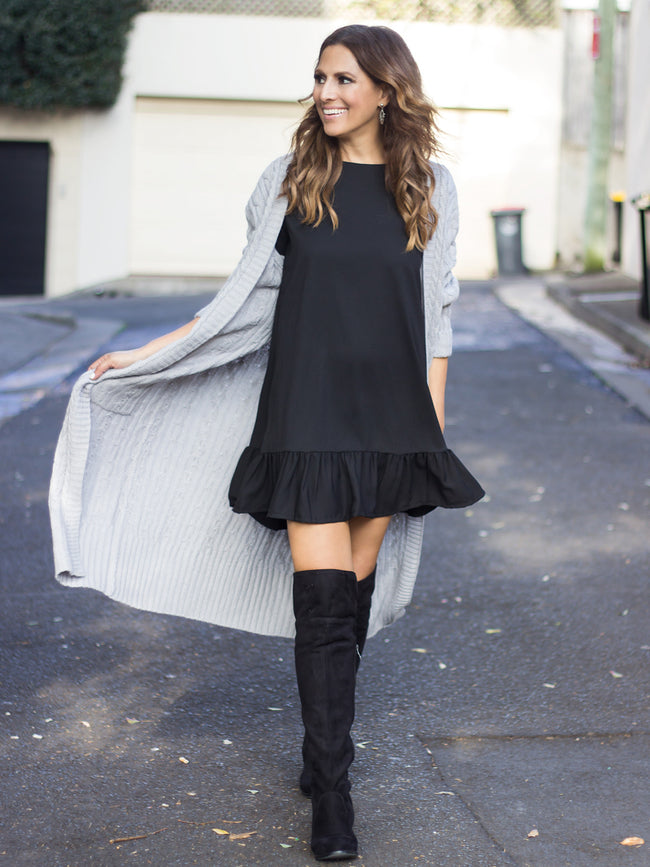 FRILL ME BLACK DROP HEM DRESS