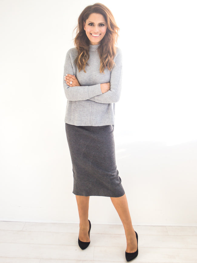 GET SKIRTY GREY KNIT MIDI SKIRT