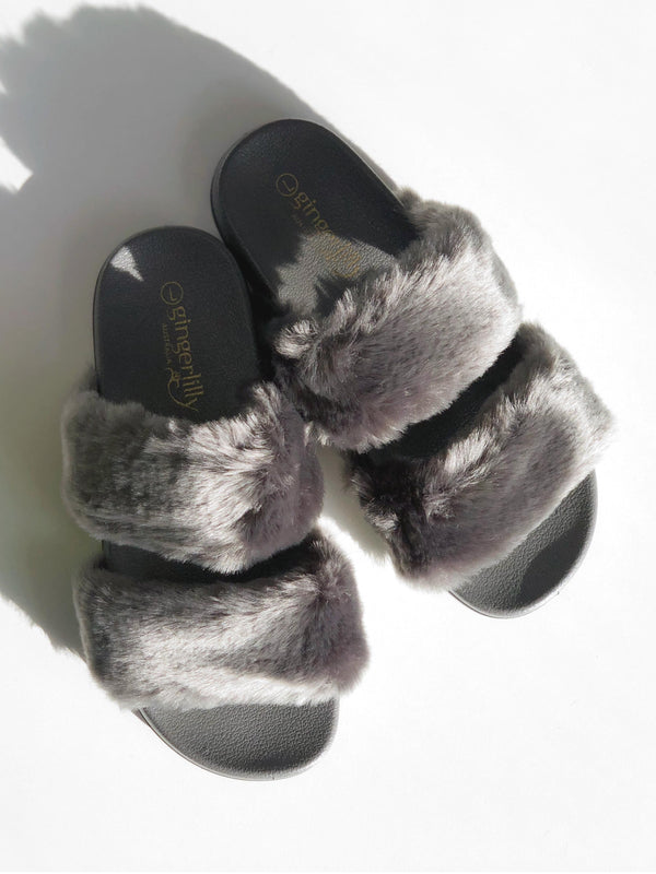 FAUX FUR DOUBLE STRAP SLIDE IN GREY