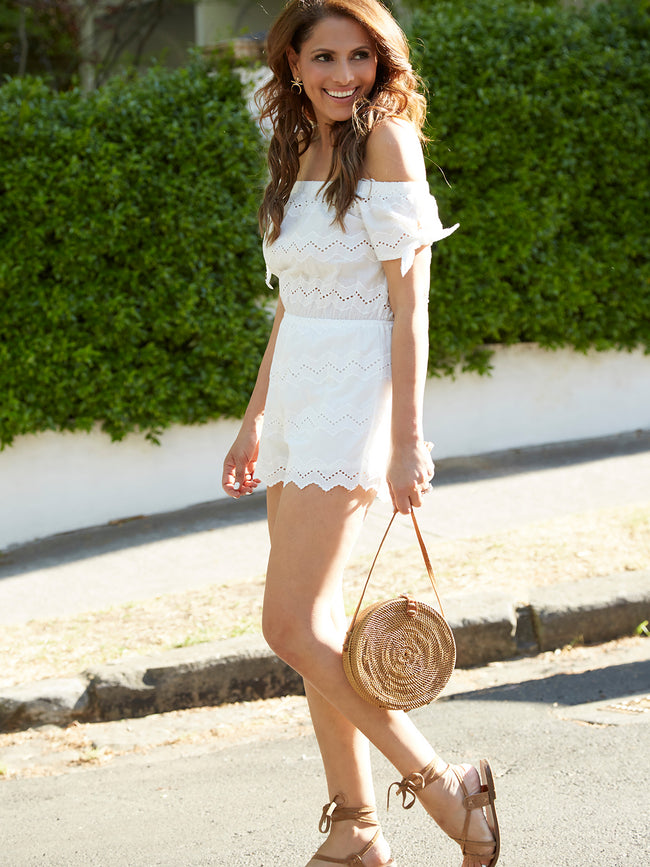 GYPSY WANDERER PLAYSUIT - WHITE