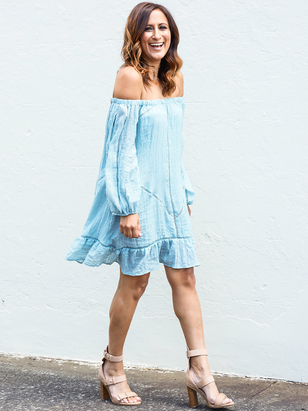 HAPPINESS COMES IN WAVES BOHO DRESS