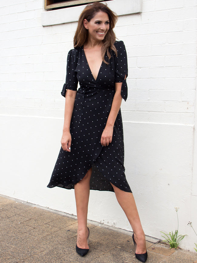 HOTTIE SPOTTY WRAP DRESS