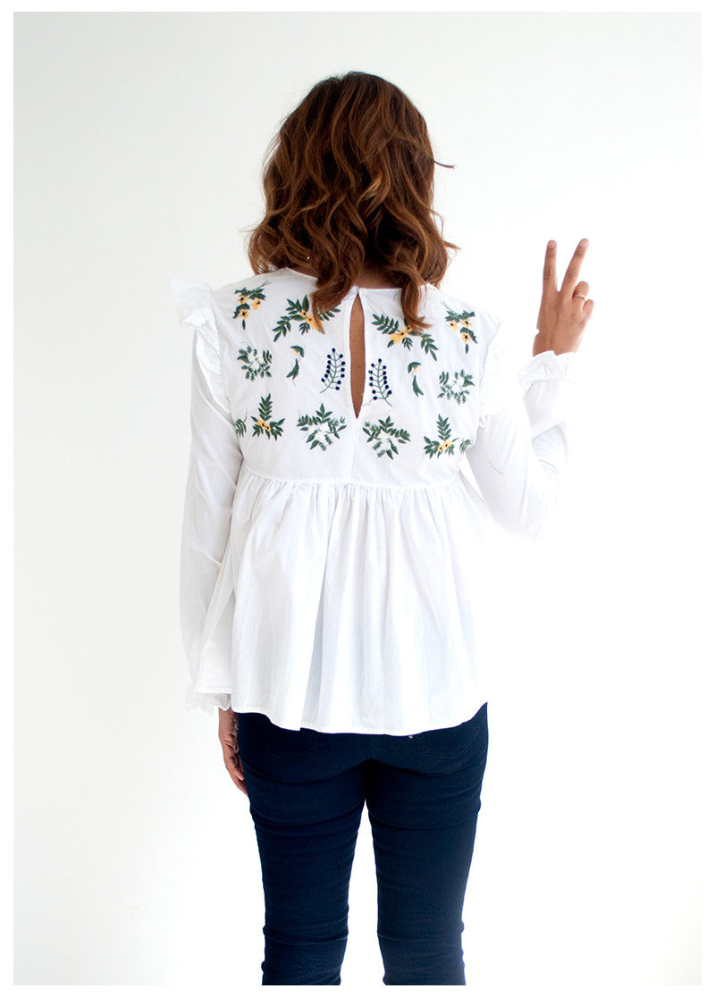IN THE WOODS EMBROIDERED TOP