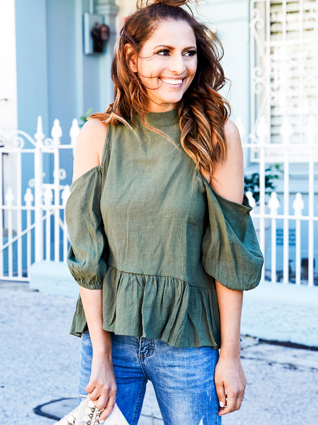RUN TO YOU COLD SHOULDER TOP