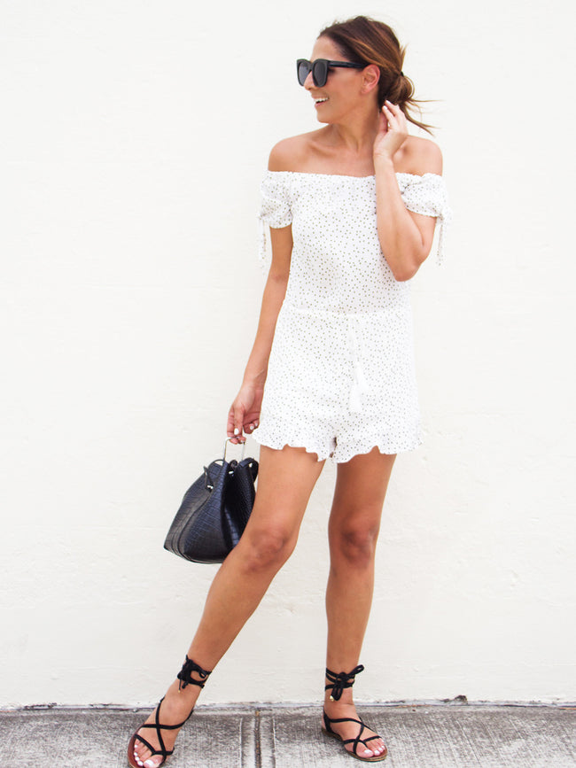 LOVE MAKER OFF THE SHOULDER PLAYSUIT - WHITE