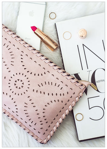 NIGHTFALL LASER CUT BLUSH CLUTCH