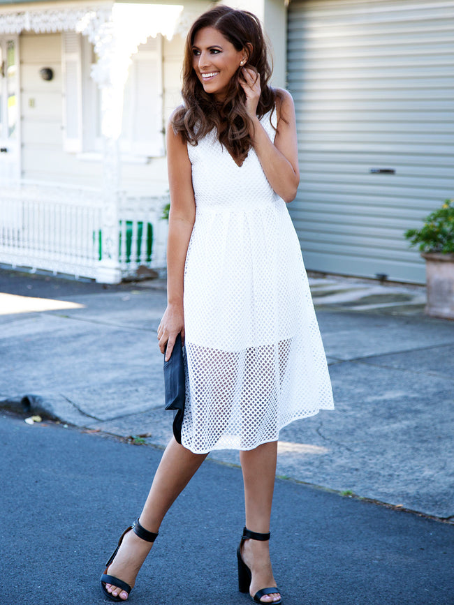 NOW OR NEVER LACE DRESS - WHITE