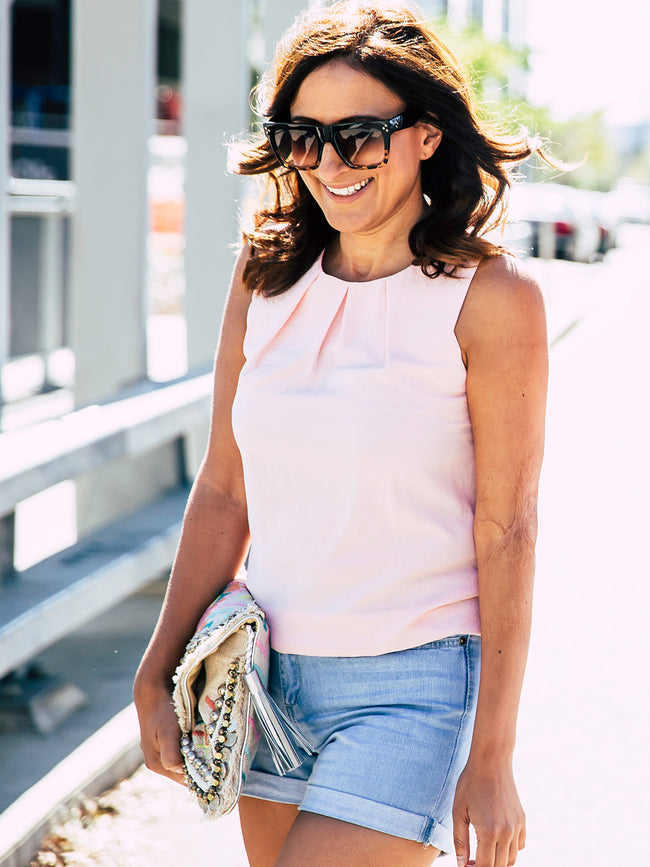 SWEET LOVE PINK SHELL TOP