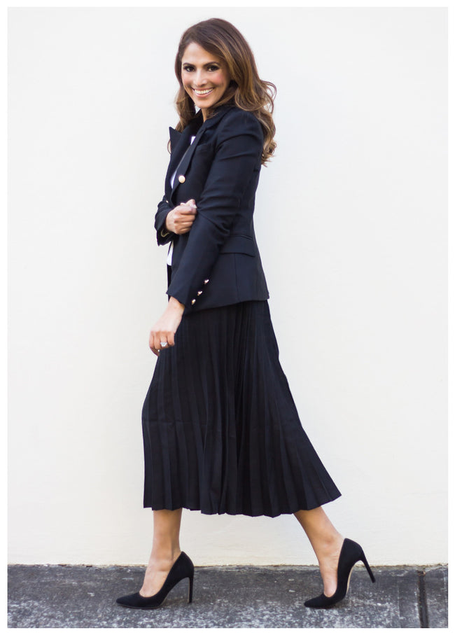 FOR PLEATS SAKE BLACK MIDI SKIRT