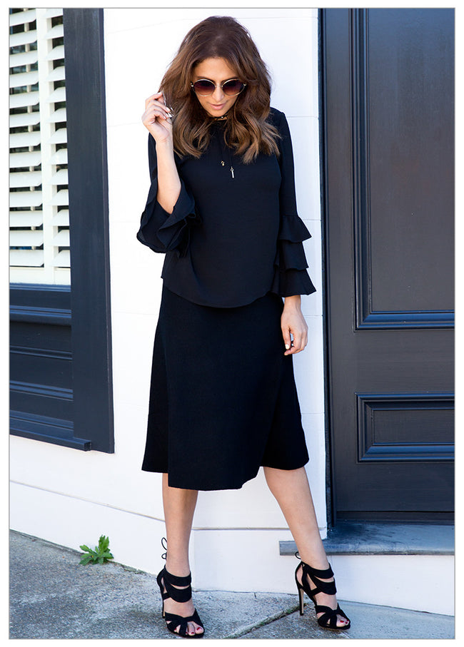 BECKETT KNIT MIDI SKIRT - BLACK