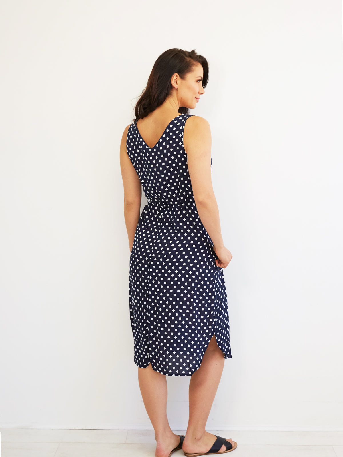 SAINT HONORE DREAMING NAVY POLKA DOT DRESS