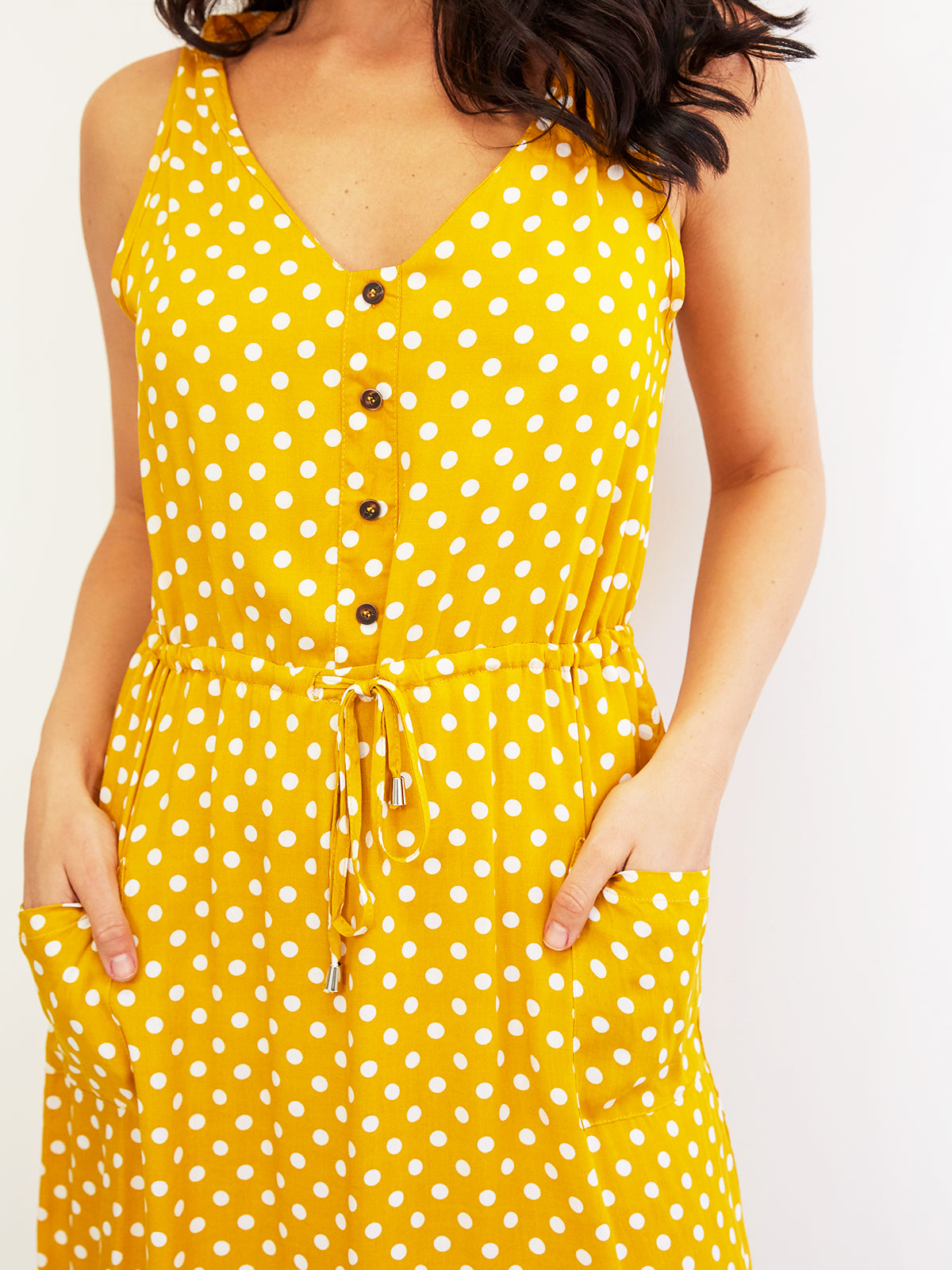 SAINT HONORE DREAMING MUSTARD POLKA DOT DRESS