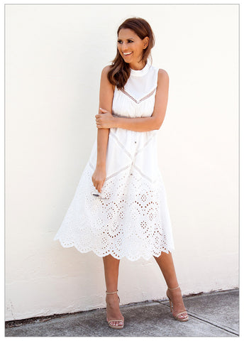 SANTORINI SUNSET DRESS - WHITE