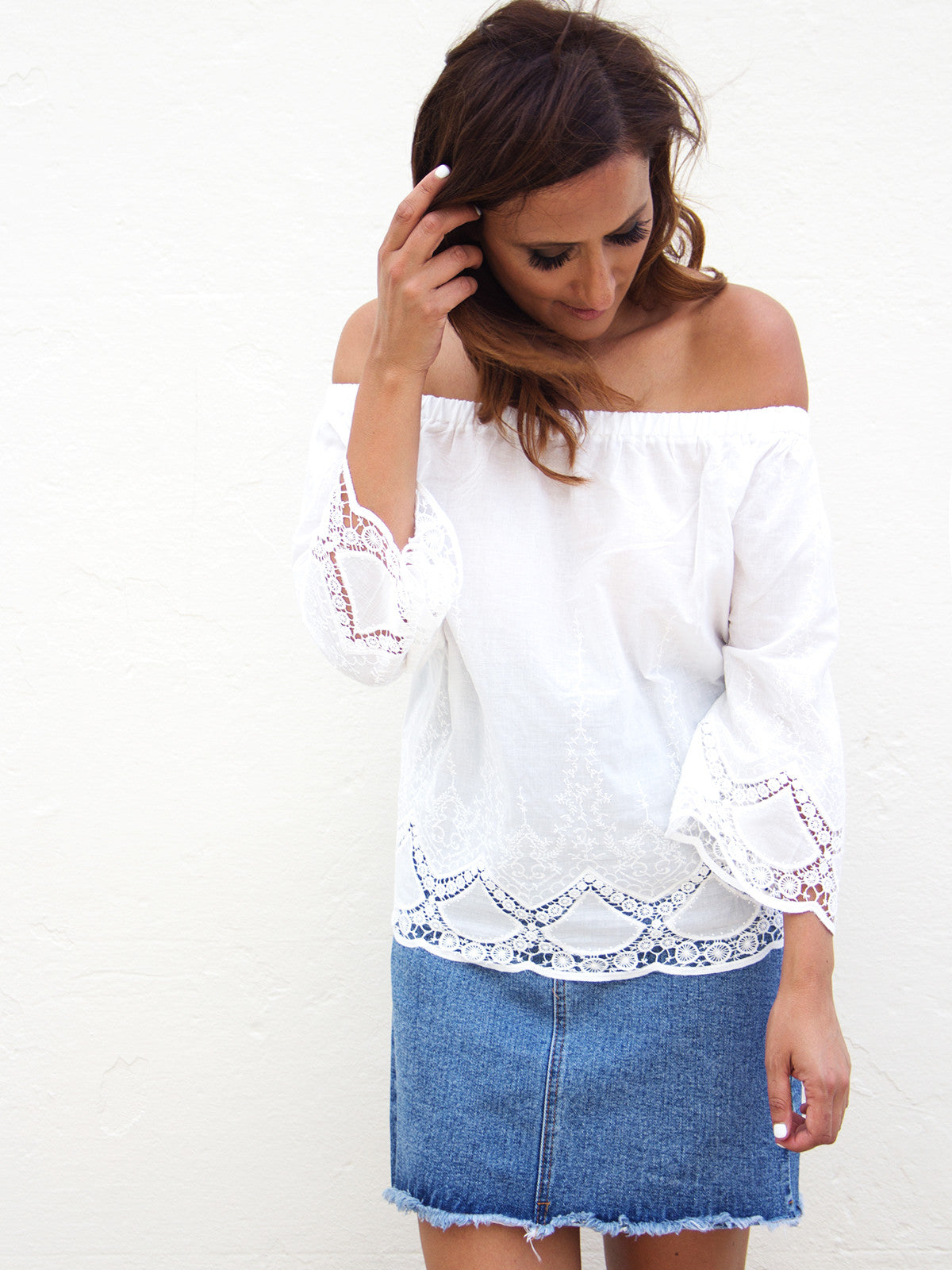 SEE THE SUN OFF THE SHOULDER TOP