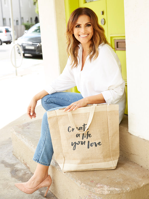 CREATE A LIFE YOU LOVE JUTE TOTE - BLACK