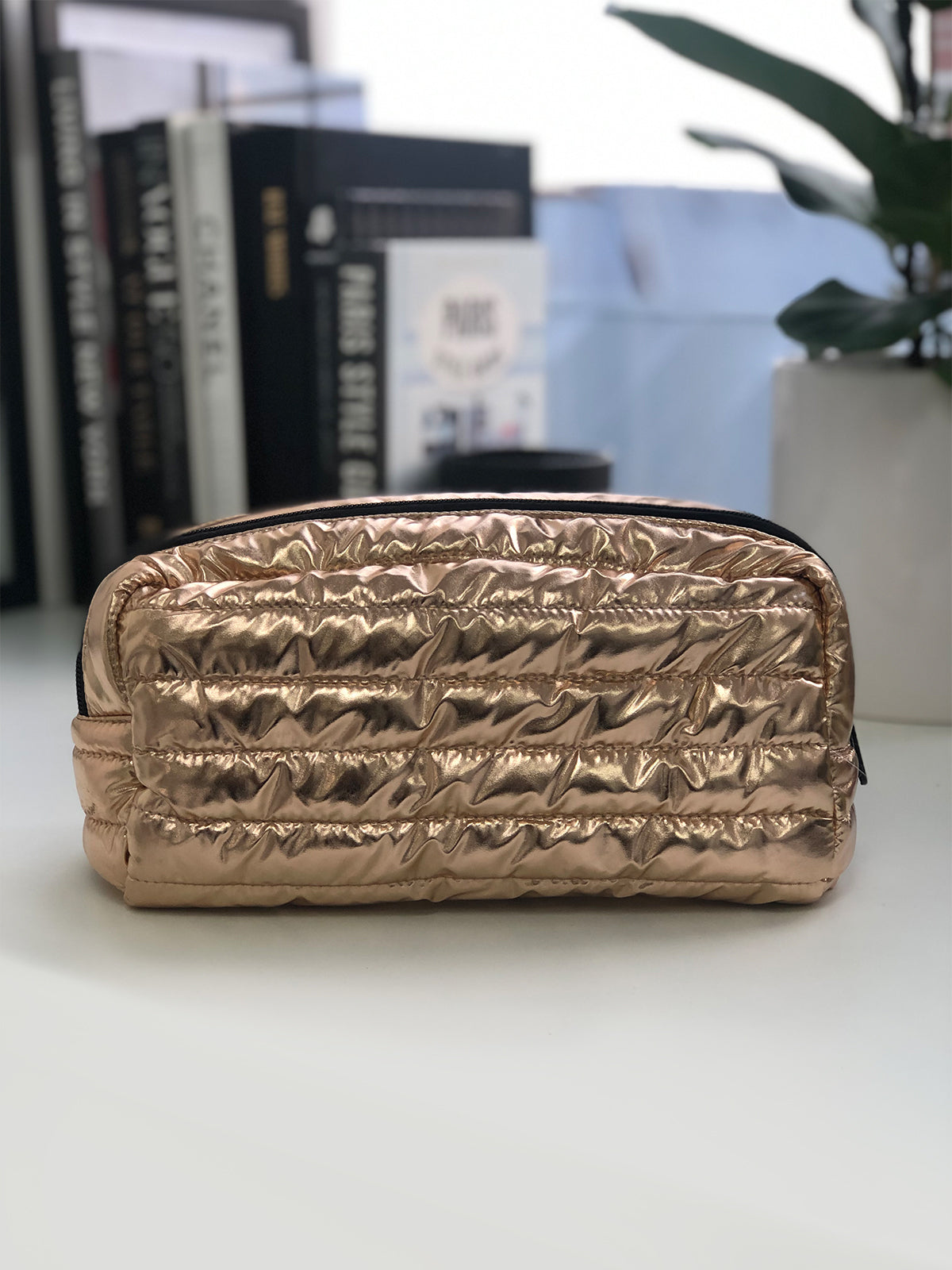 BACKSTAGE PASS CLUTCH IN ROSE GOLD