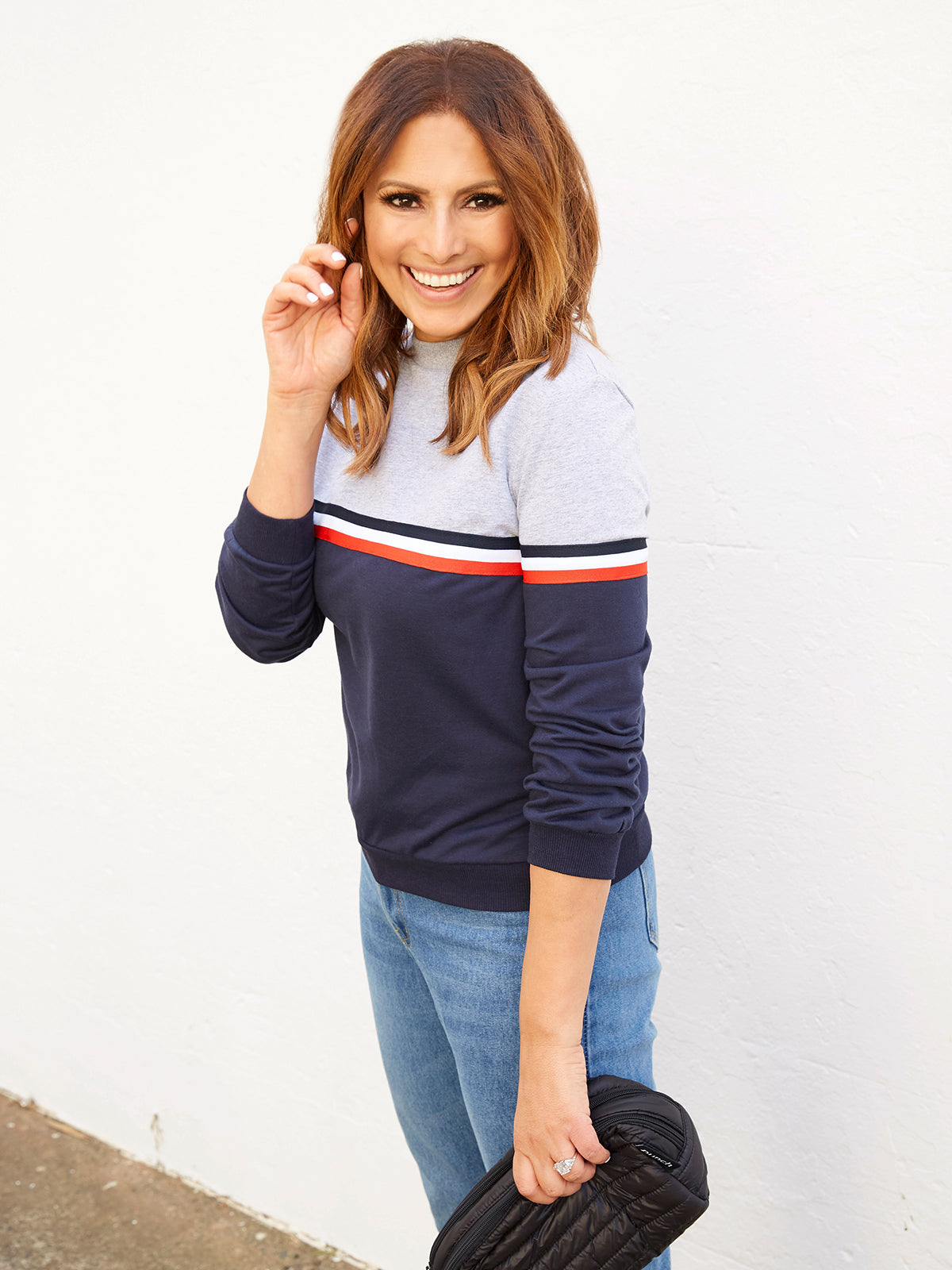 THE JET SET NAVY & GREY SWEATER