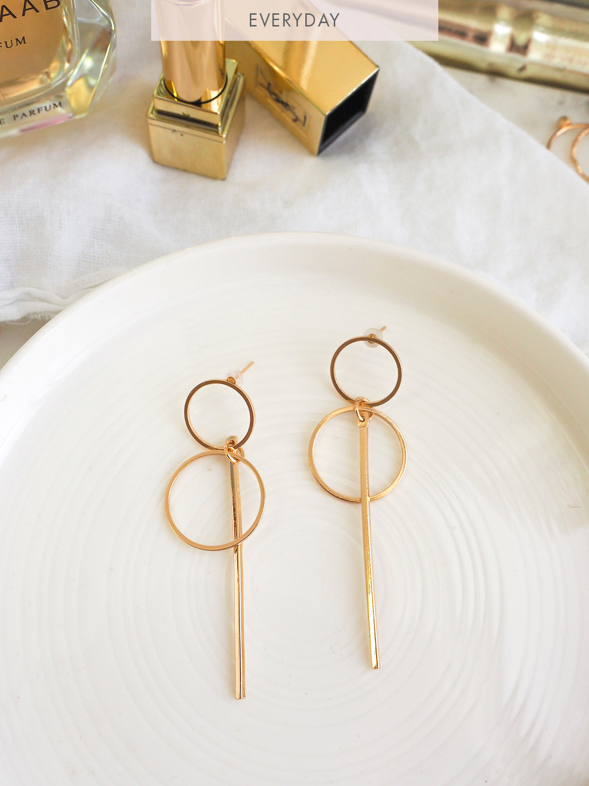 LETTERS FROM PARIS DROP EARRINGS - GOLD