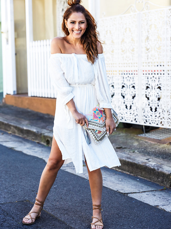 SILVER LININGS OFF THE SHOULDER DRESS