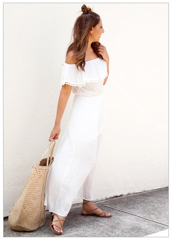 SUNSET DRINKS OFF THE SHOULDER MAXI DRESS