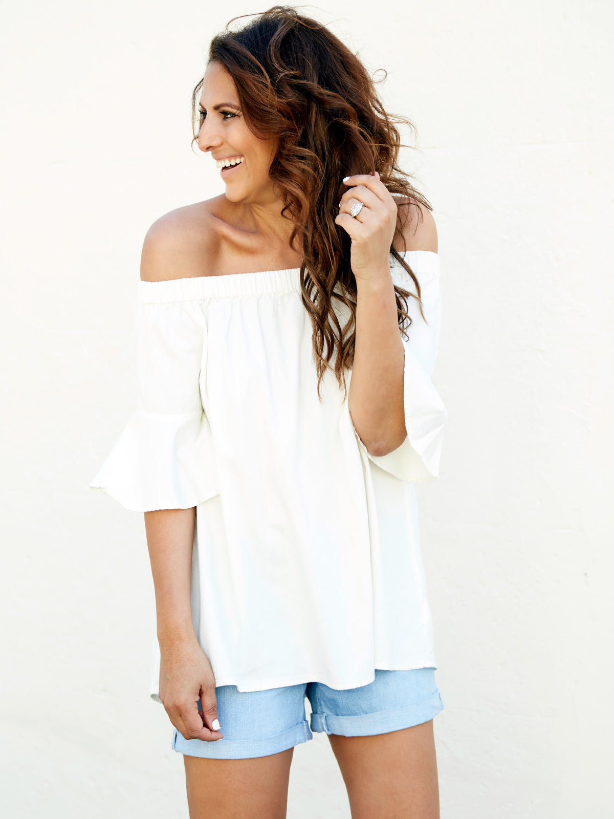 TEXAS VINTAGE OFF THE SHOULDER TOP - CREAM WASH