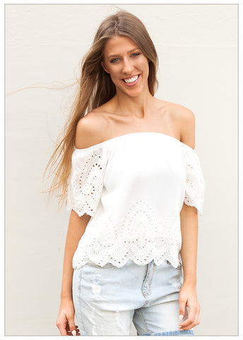 THE LONG HOT SUMMER BRODERIE DETAIL TOP