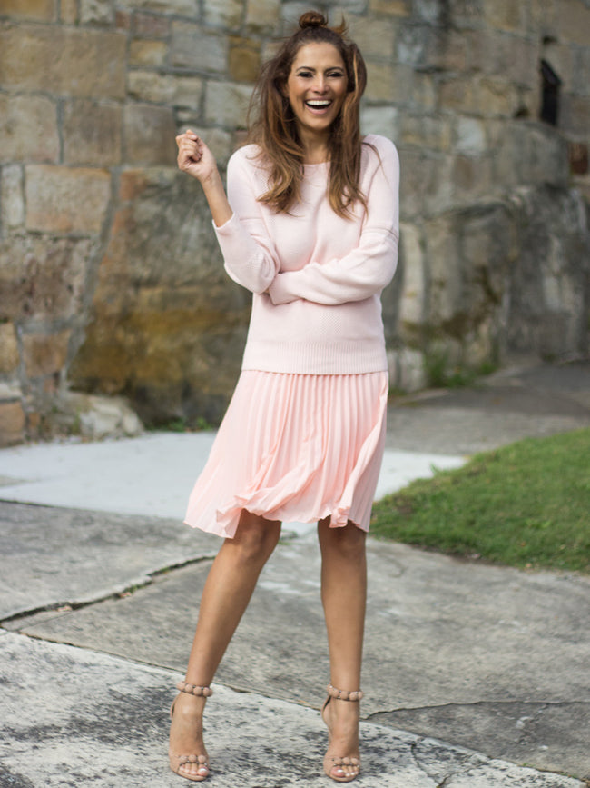 GISELLE BLUSH PLEATED SKIRT