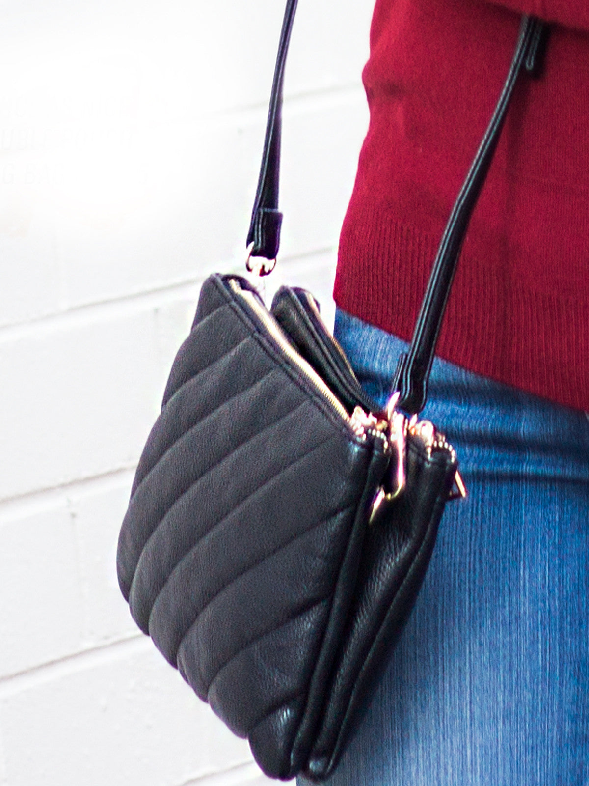 TWICE AS NICE DOUBLE POUCH SLING BAG