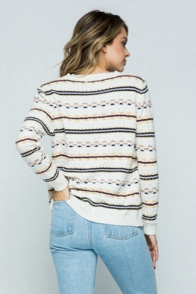 Cuddled Up Striped Chenille Sweater