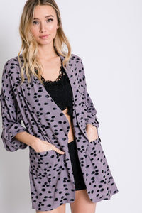 Watercolor Open Front Cardigan- Purple