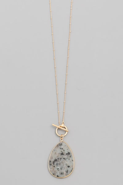 Sage Teardrop Stone Chain Necklace
