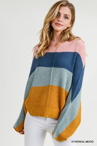 Getaway Colorblock Batwing Sweater Poncho