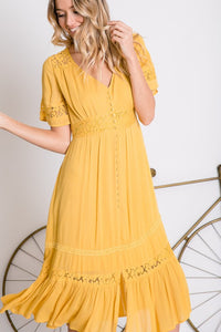 PRE-ORDER ITEM: Grace Floral Lace Midi Dress - Mustard