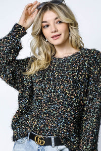 Up to Date Black Speckled Sweater