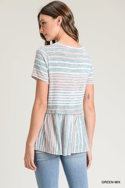 Summer Haze Striped Peplum Top