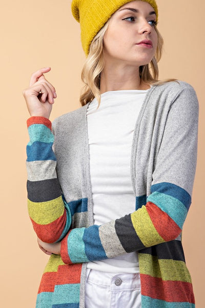 Heather Grey Multi Striped Cardigan