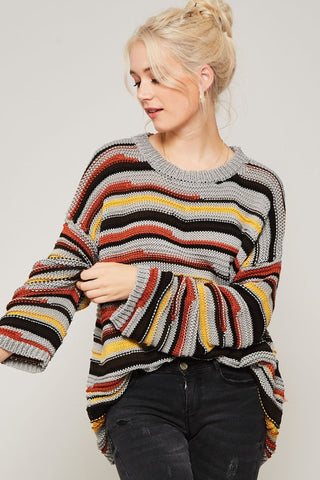 LA Cool Striped Oversized Sweater