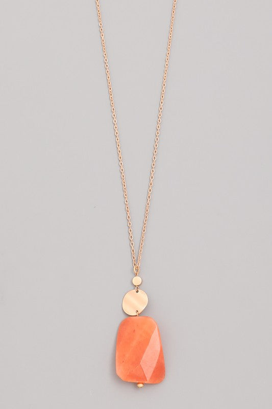 Coral Stone Pendant Necklace