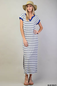 Electric Blue Striped Knit Maxi Dress
