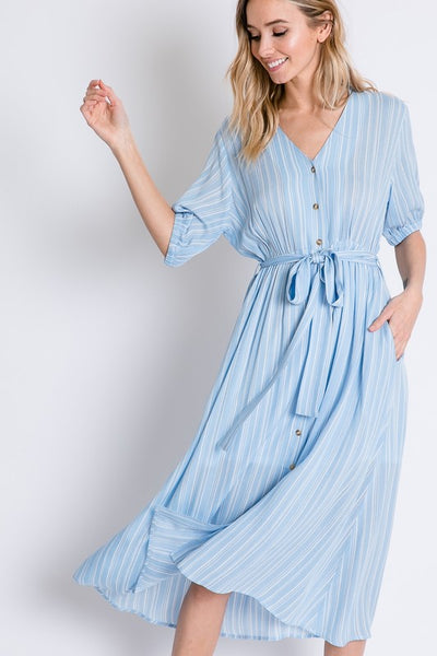 Anchors Away Blue Striped Shirt Dress