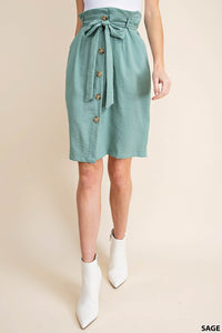 Sugar Bag Button Down Skirt With Waist Belt