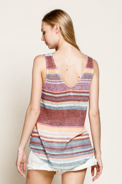 Smile Brighter Striped Knit Tank Top