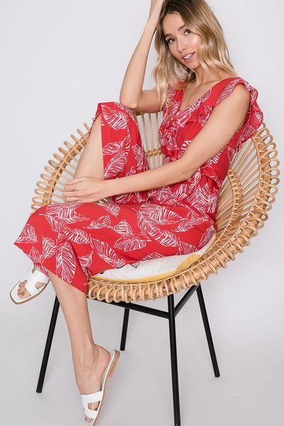 Red Palm Leaf Cropped Wide Leg Jumpsuit