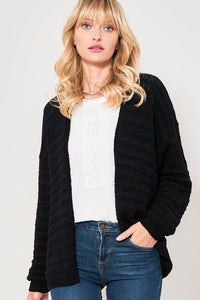 Textured Classic Black Open Front Cardigan