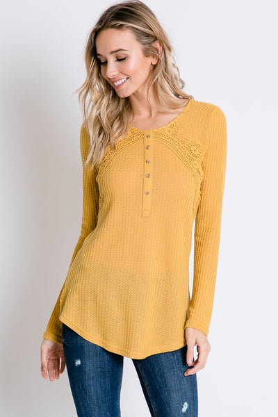 Today is the Day Lace Ribbed Henley Top- Honey