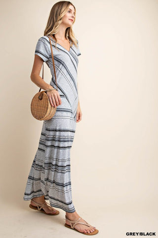 Cozumel Mixed Pattern Maxi Dress- Gray